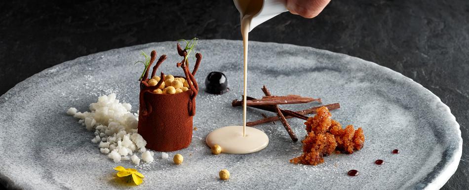 Chocolate, café y té con quínoa crujiente